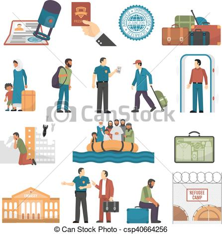 Clipart Vector of Immigration Isolated Color Icons Set.
