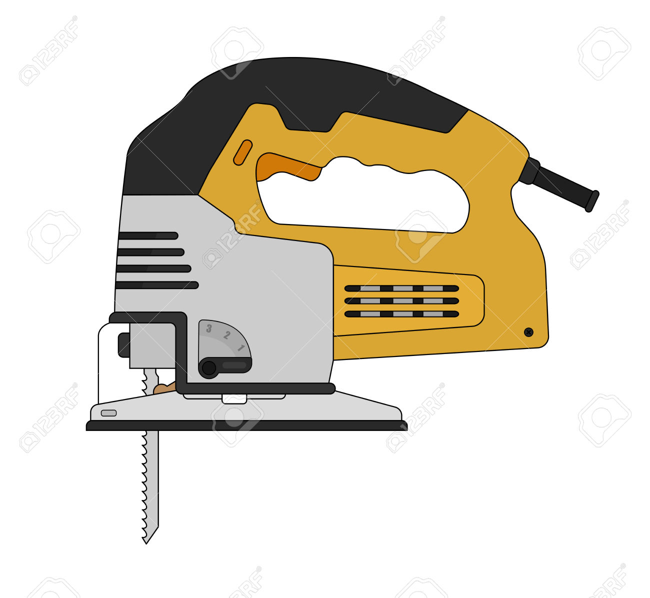 Electric Carpentry Jig Saw Tool. Vector Clip Art Color.