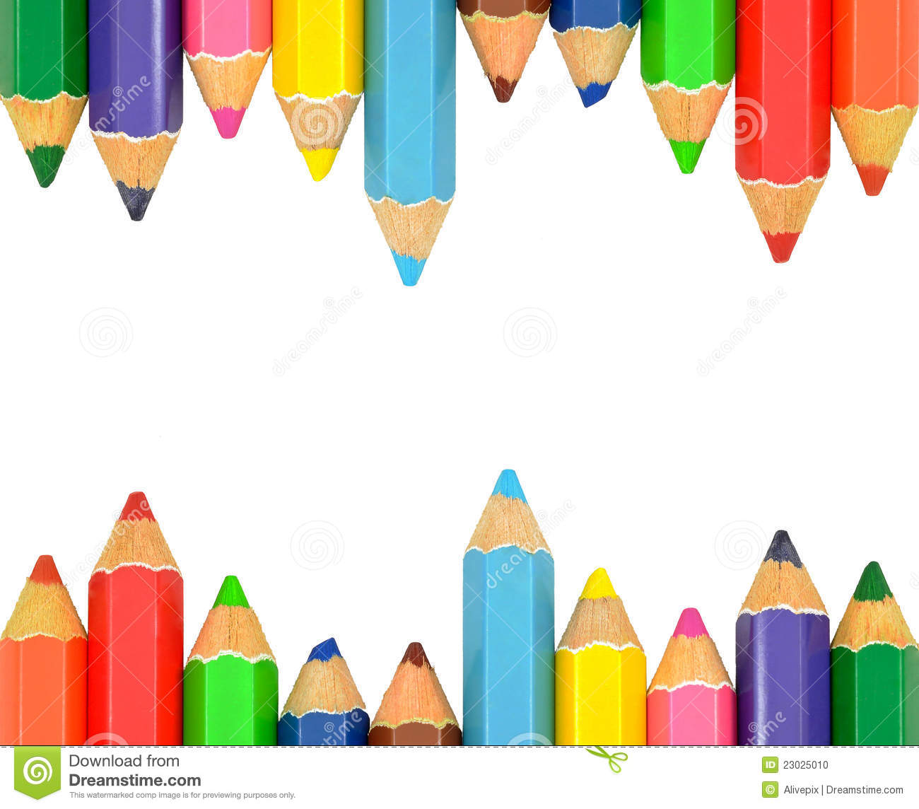 Isolated Color Pencil Frame Stock Photo.