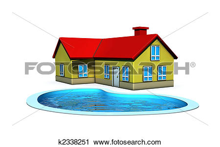 Clipart of isolated house with swimming pool k2338251.