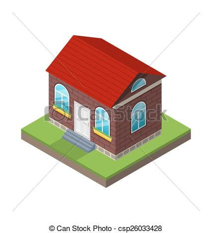 Vector Illustration of Residential isometric house with grass and.