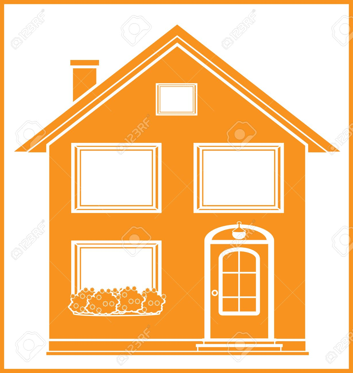 Real Estate Symbol With Isolated House Silhouette In Frame Royalty.