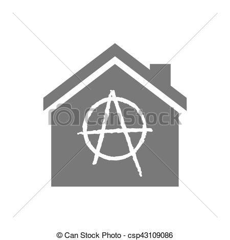 Vector of Isolated house with an anarchy sign.