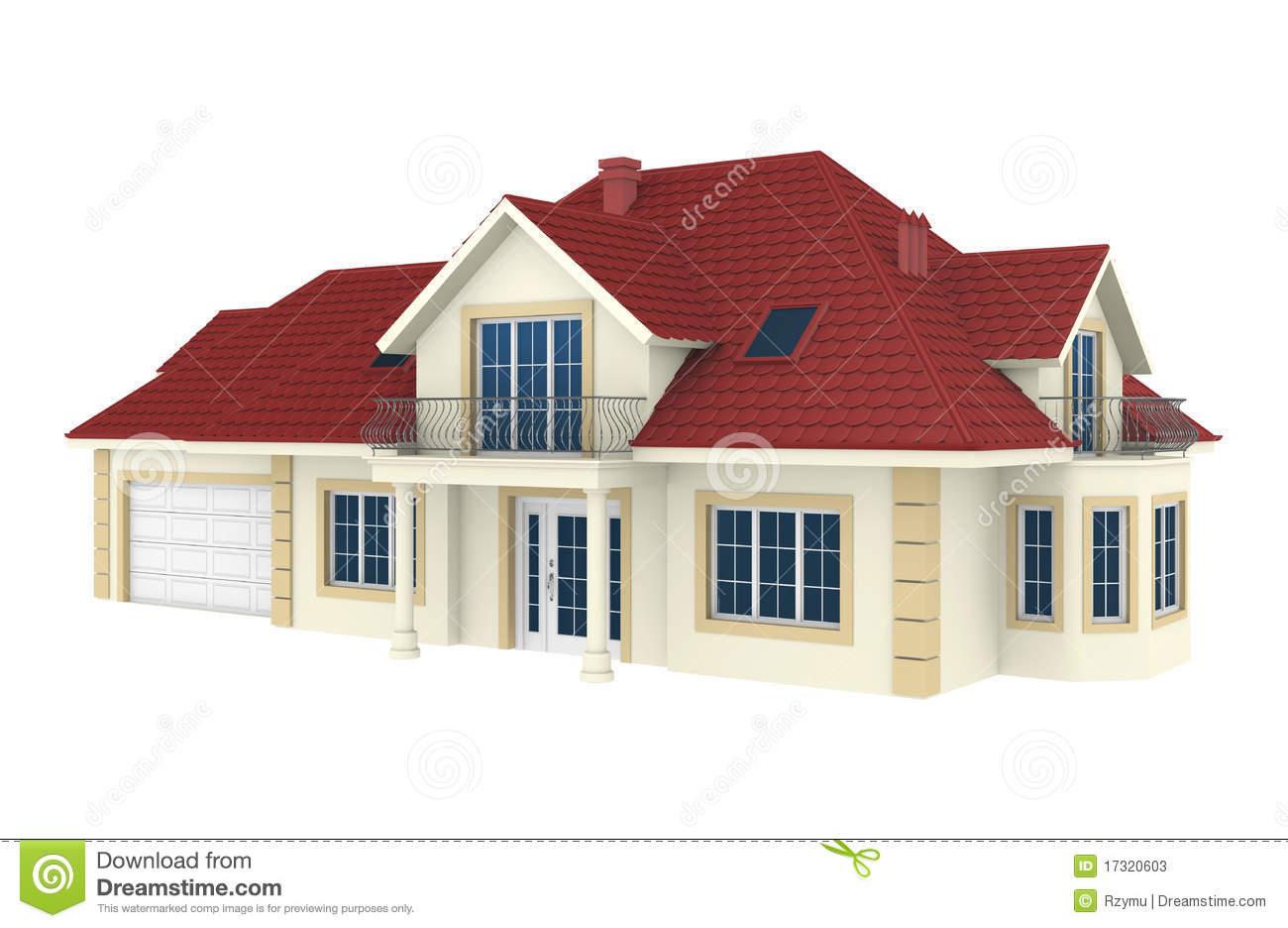 3d house clipart white.