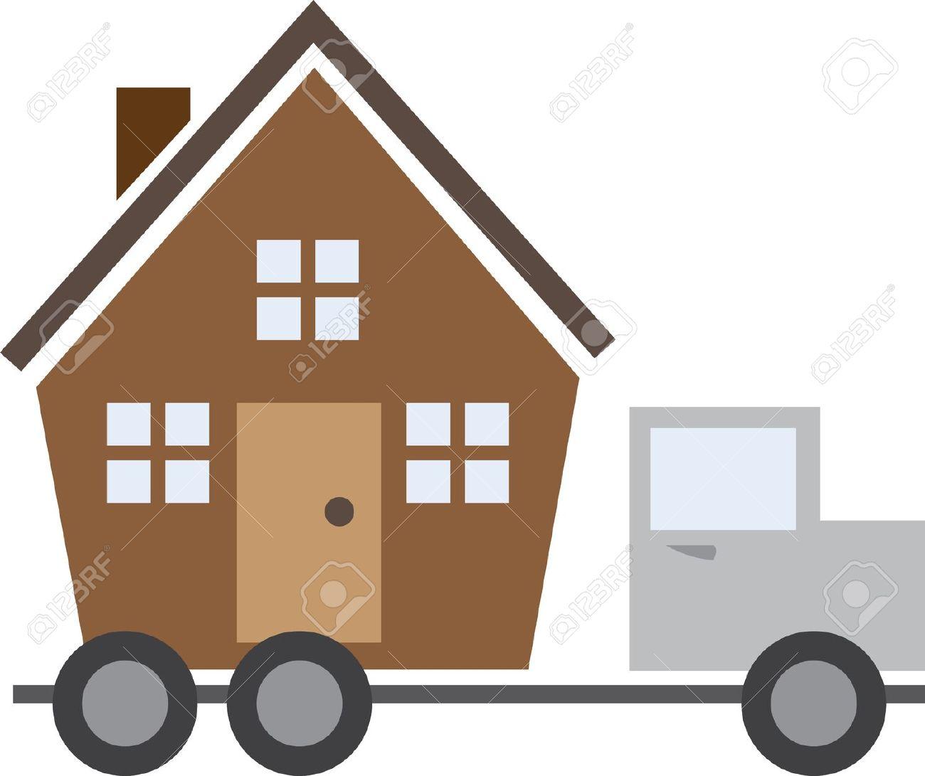 Isolated House On A Moving Truck Royalty Free Cliparts, Vectors.