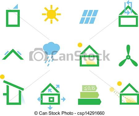 Clip Art Vector of Passive house icons isolated on white.