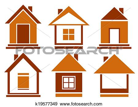 Clip Art of set brown isolated house k19577349.