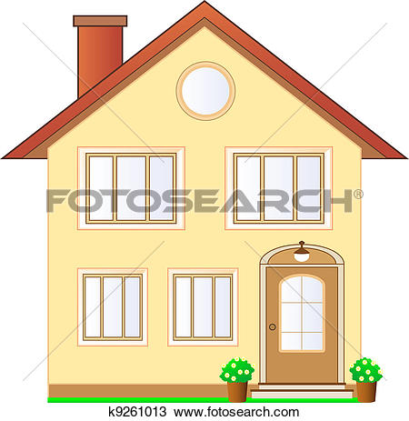 Drawing of isolated house cottage k9261013.
