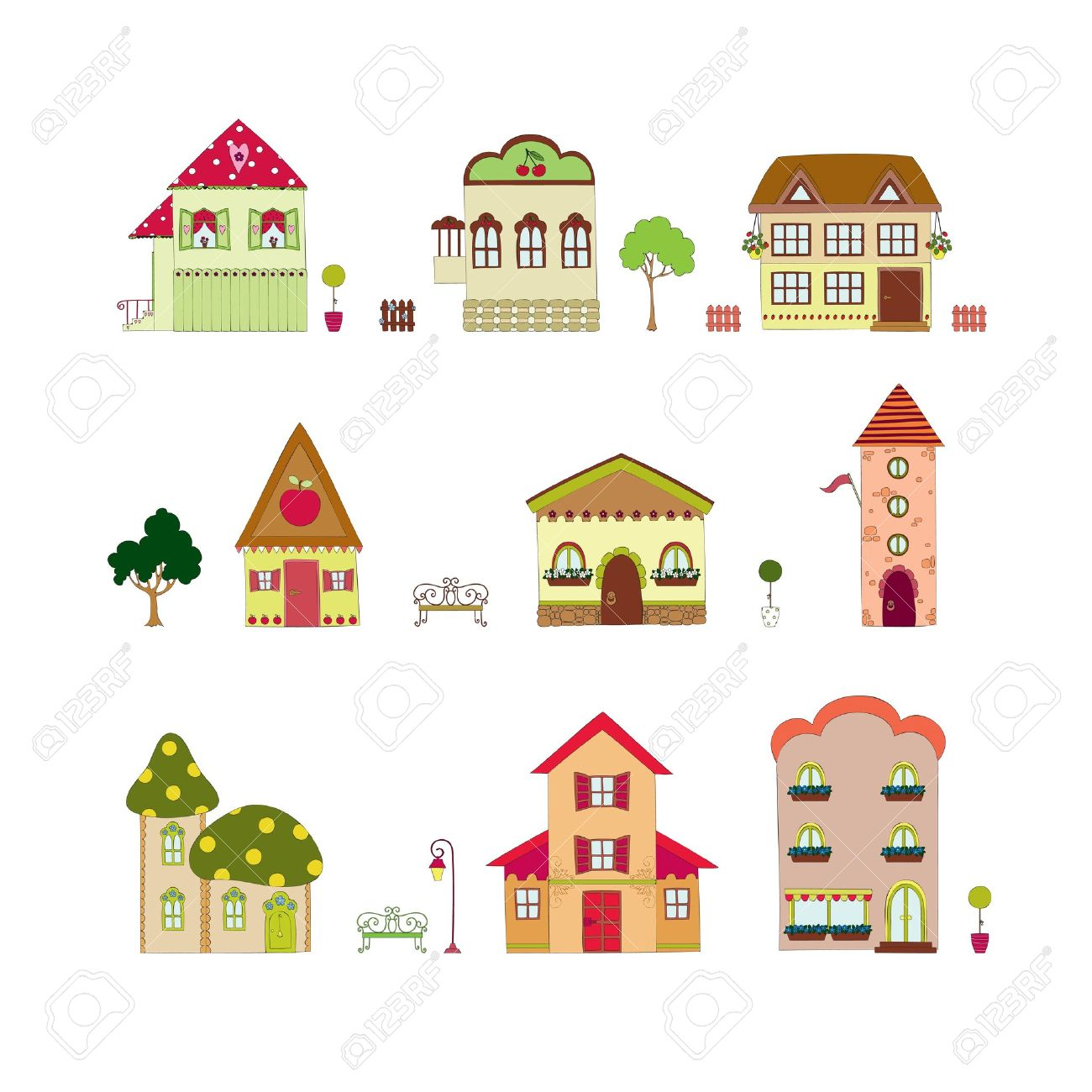 Cartoon Isolated Houses Royalty Free Cliparts, Vectors, And Stock.