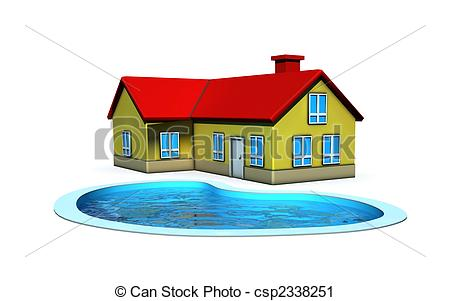Clipart of isolated house with swimming pool.