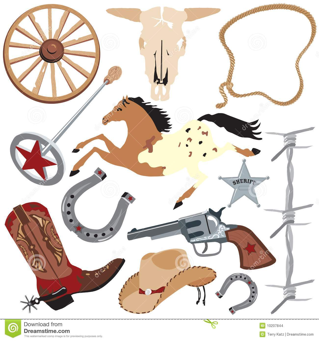 Cowboy Clip Art Elements, Isolated On White Stock Images.