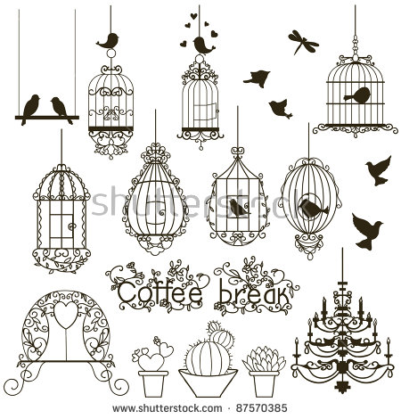 Vintage Birds Birdcages Collection Isolated On Stock Vector.