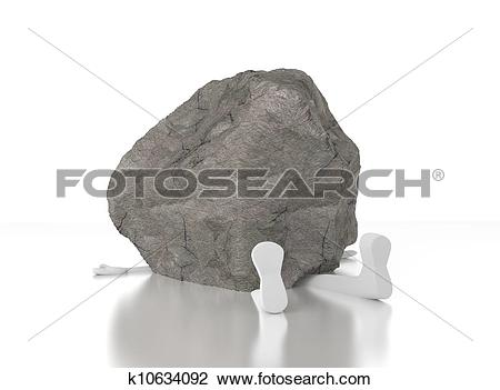 Clip Art of 3d person crushed by a heavy rock. Heavy burden. Too.