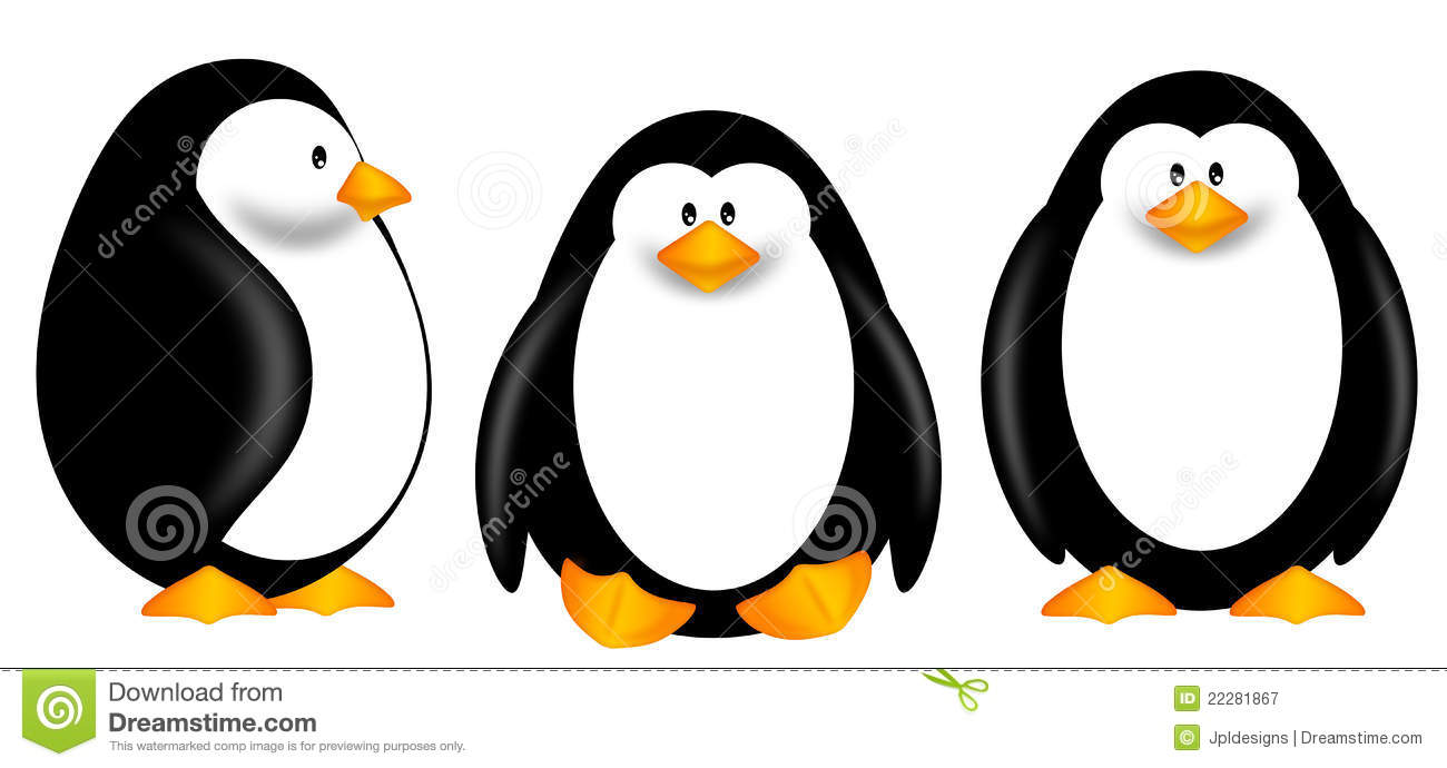 Cute Penguins Clipart Isolated On White Background Royalty Free.
