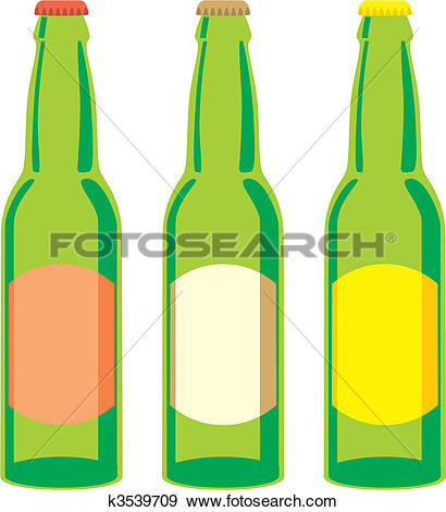 Clip Art of isolated beer bottles set k3539709.