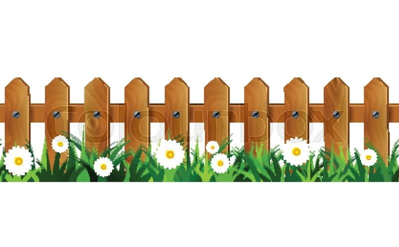 Green Grass and wooden fence seamless isolated clip art vector on.
