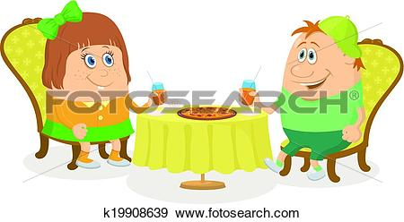 Clip Art of Children near table, isolated k19908639.
