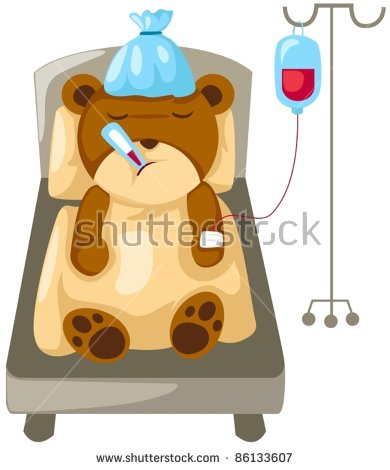 Illustration Of Isolated Bear In Hospital Bed On White.