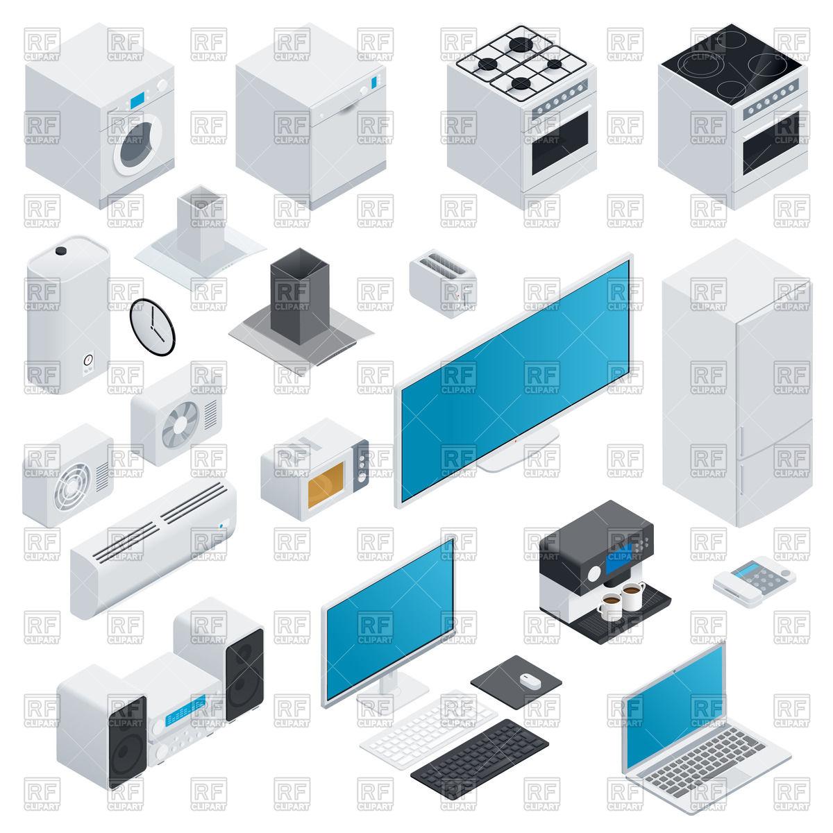 Household appliances isometric icon set Vector Image #72636.