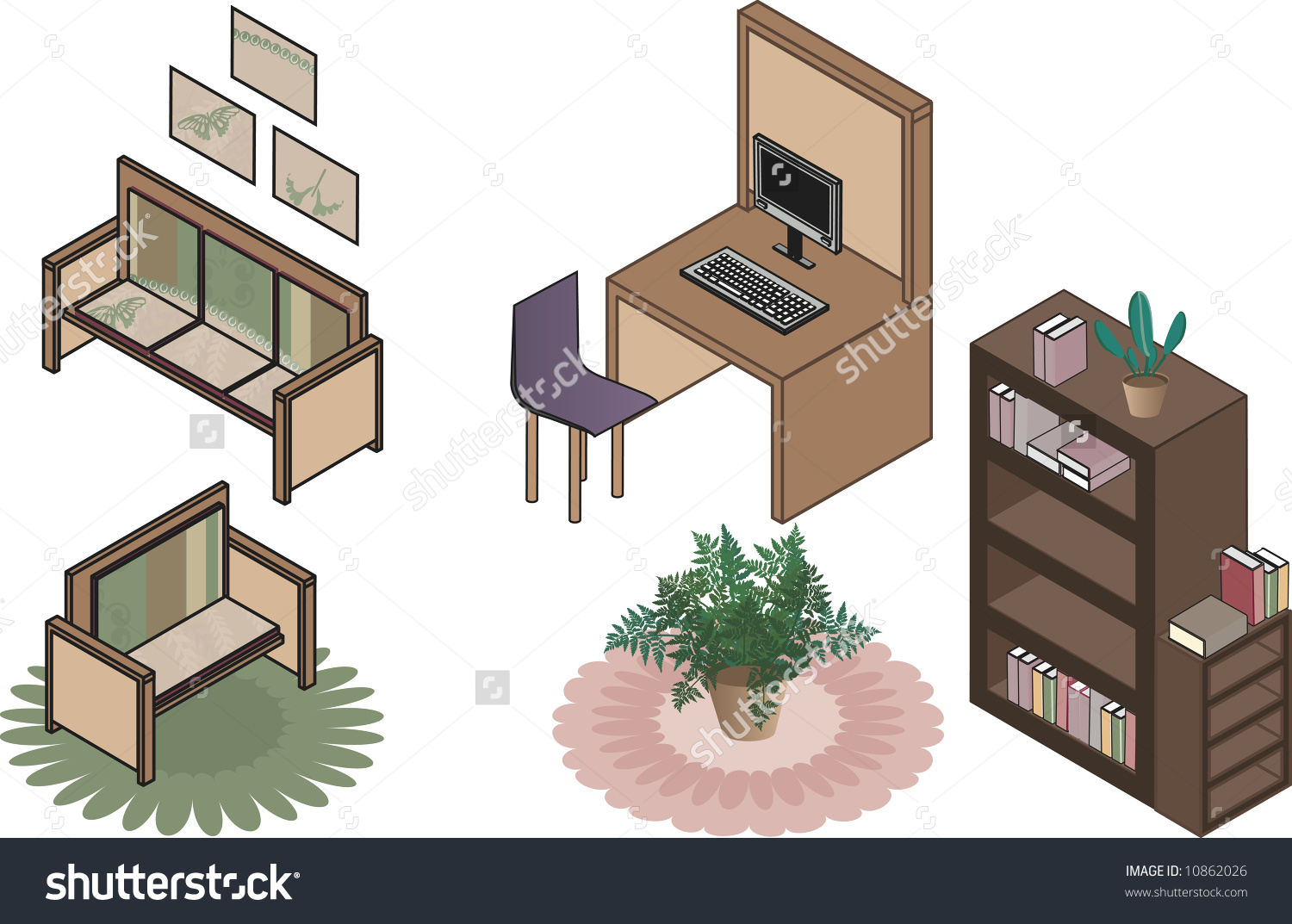Isometric Illustration Of Office Clip Art All In Individual Groups.