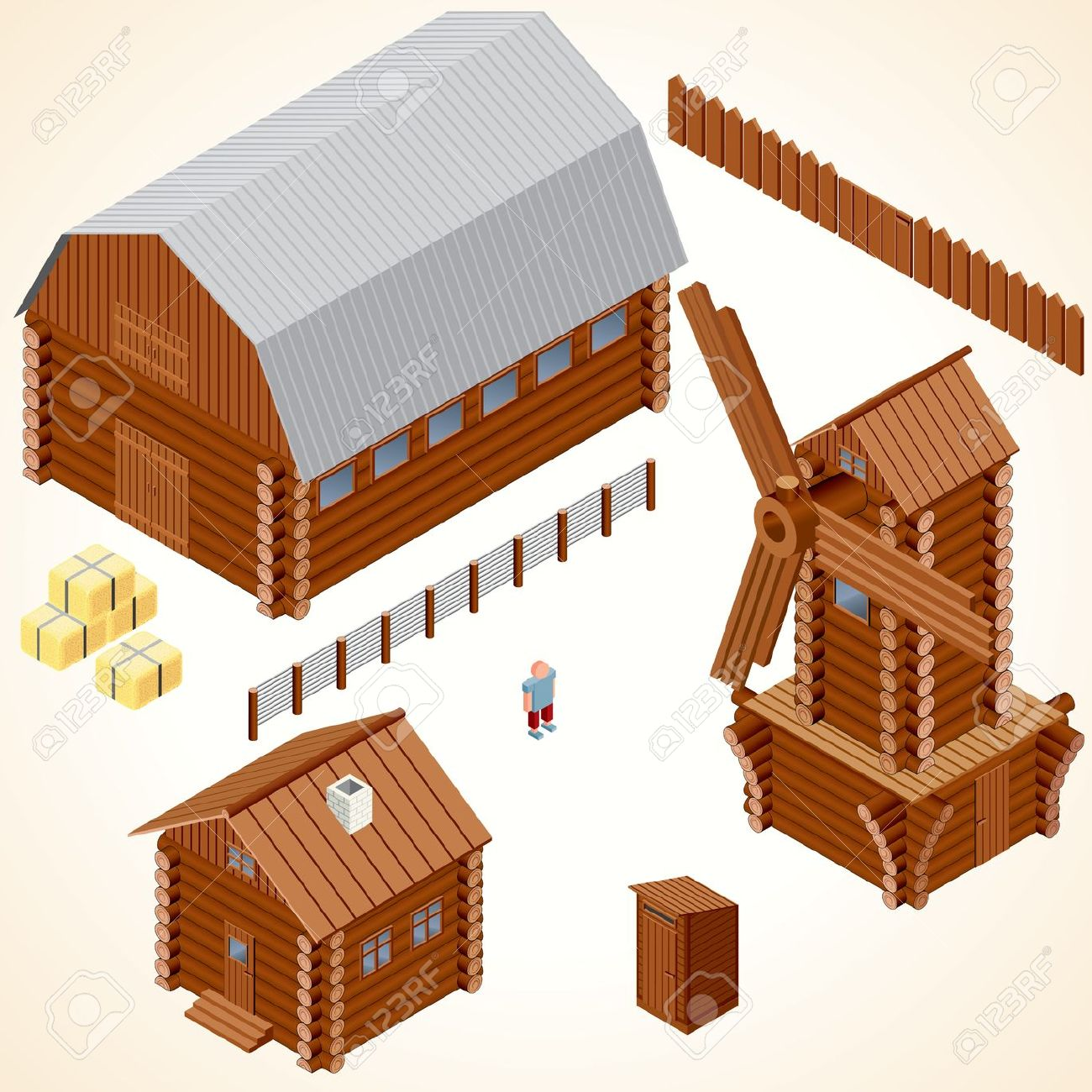 Isometric Wooden Houses. Log Cabin, Wood Windmill, Rustic Outhouse.