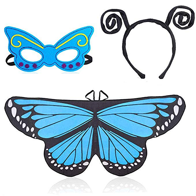 Beelittle Butterfly Wings Costume for Girls Kids with Antenna Headband and  Cute Mask.