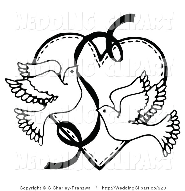free wedding clipart black and white bells and hearts #19