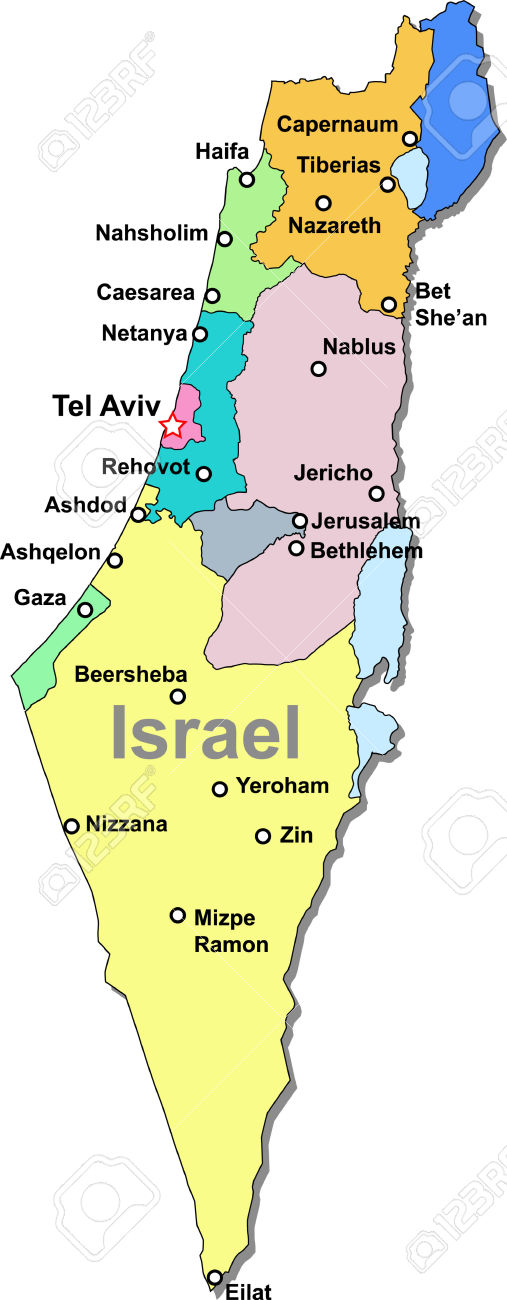 Map of israel clipart.