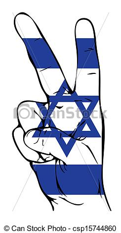 Clip Art Vector of Peace Sign of the Israeli flag csp15744860.