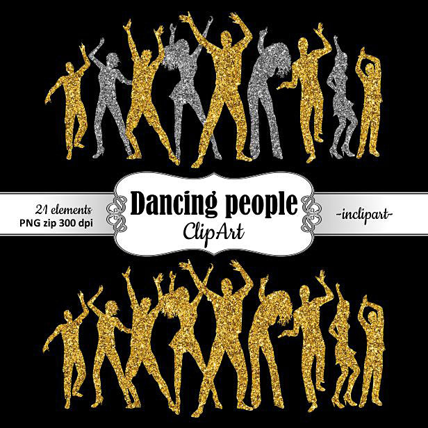 Dancing people clipart. Party dancers silhouette clipart. Disco.