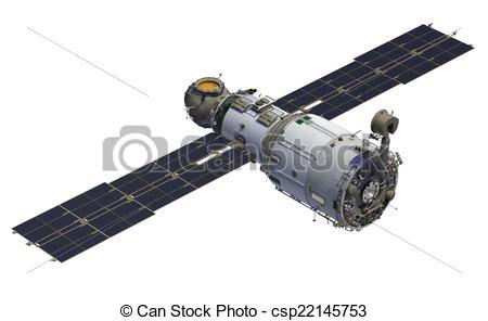 "Clip Art of International Space Station. Module ""Zvezda"". 3D Model."