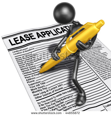 Filling Out Lease Application Gold Pen Stock Illustration 44855866.