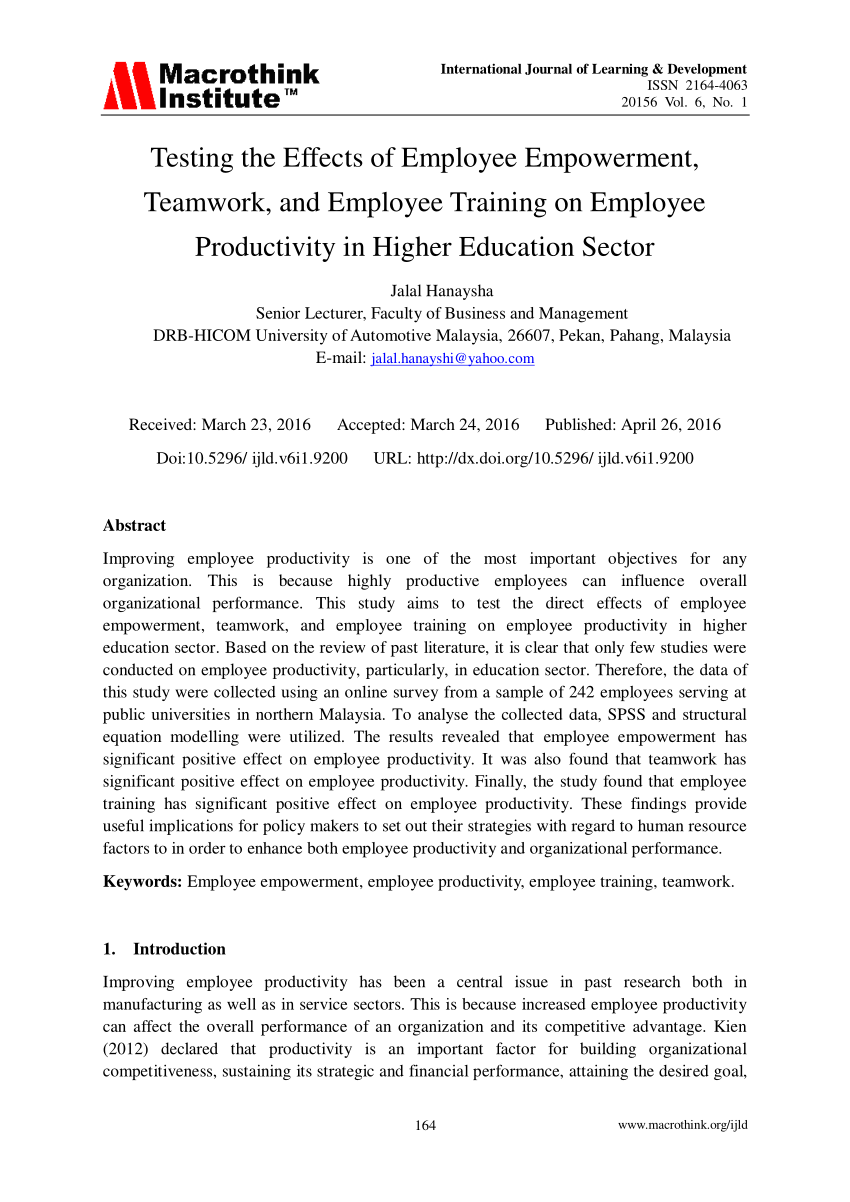 PDF) Testing the Effects of Employee Empowerment, Teamwork, and.