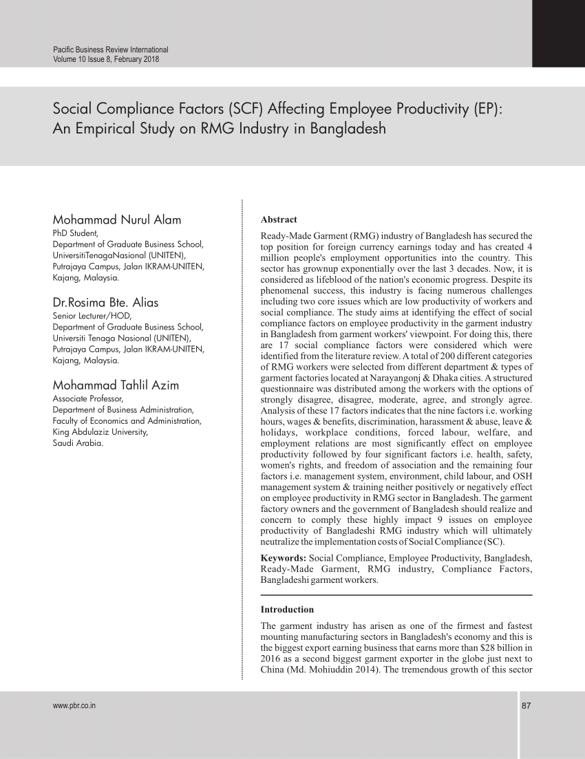 PDF) Social Compliance Factors (SCF) Affecting Employee Productivity.