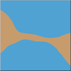 Clip Art: Landforms: Isthmus Color I abcteach.com.