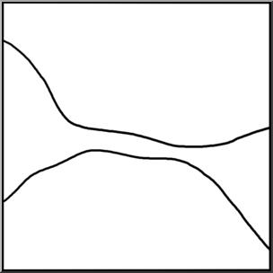 Clip Art: Landforms: Isthmus/Strait B&W I abcteach.com.