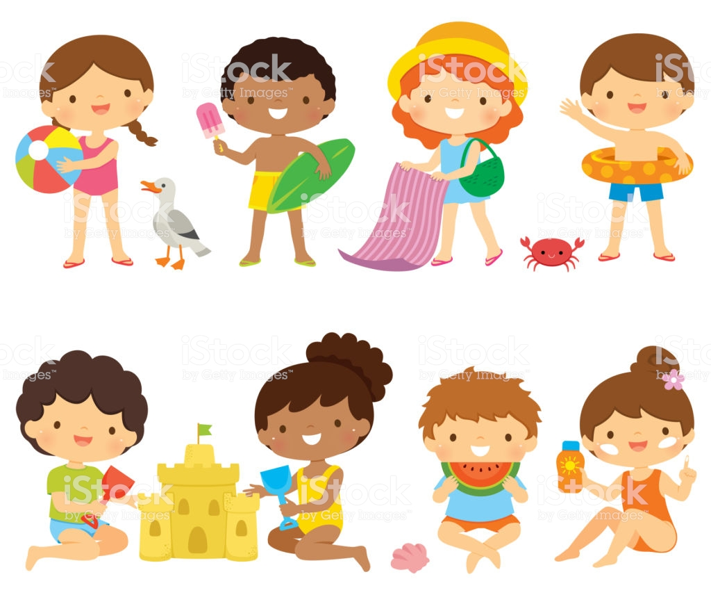 Kids At The Beach Clipart Set Stock Illustration.