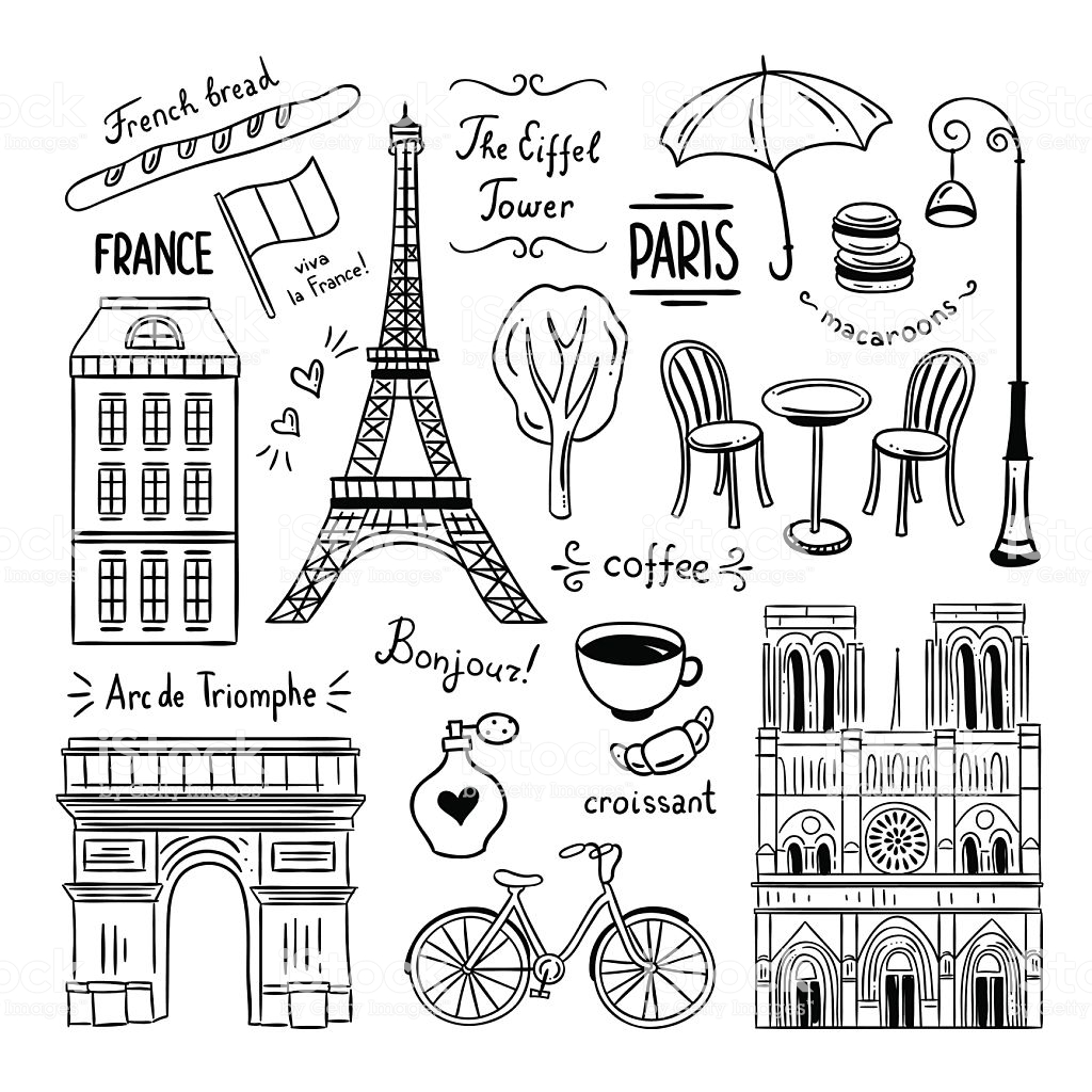 Paris Hand Drawn Clipart Illustrations Of France And Paris Stock.