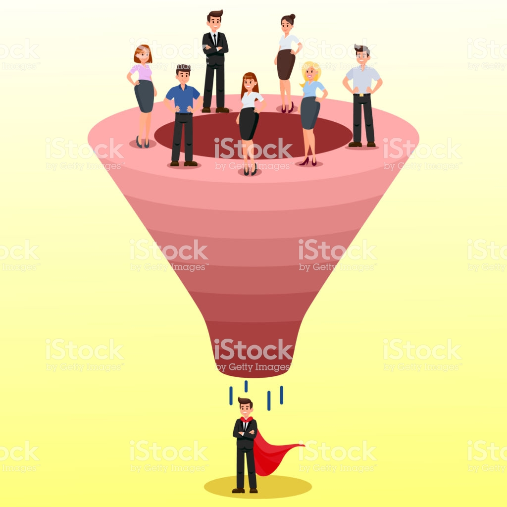 Recruitment Funnel Candidate Selection Clipart Stock Illustration.