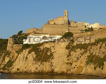 Stock Photo of Ibiza Town Dalt Vila Cathedral & Castell Almudaina.