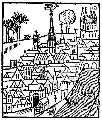 Medieval Woodcuts Clipart Collection 4. View of a town; from.