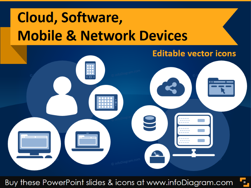 IT icons Cloud, Software, Mobile & Network devices (flat PPT.