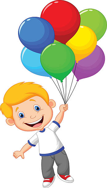 Boy Holding Balloons Clipart.