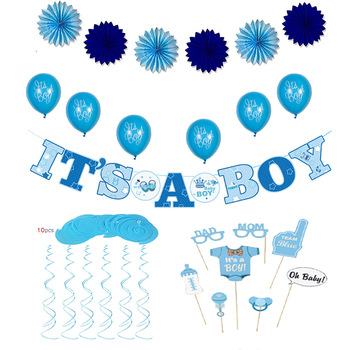 Party Decorations Baby Shower It\'s A Boy Banner Balloons Paper Fans And  Cake Topper.