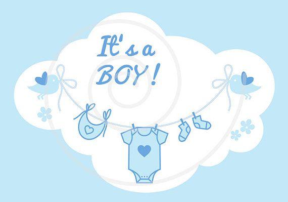 New baby clip art, it\'s a girl, it\'s a boy, blue and pink.