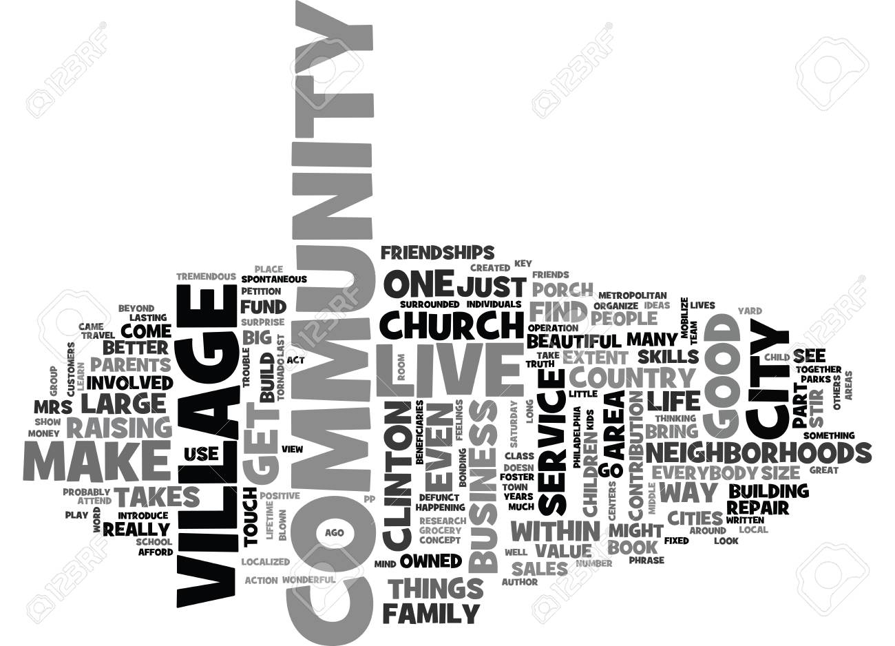 IT TAKES A VILLAGE Text Background Word Cloud Concept.