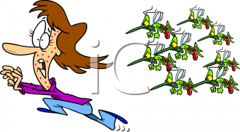 Summer Cartoon of a Woman Running from a Swarm of Wasps.