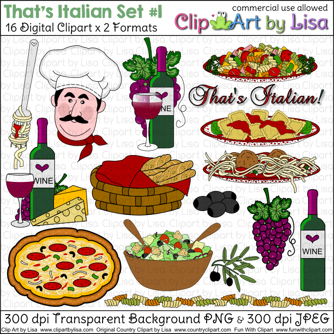 Italian Food Clip Art, Italian Food Free Clipart.