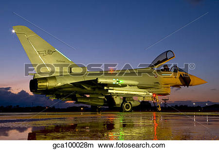 Stock Photo of An Italian Air Force Eurofighter Typhoon at night.