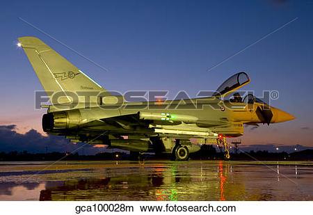 Stock Photo of An Italian Air Force Eurofighter Typhoon at night.